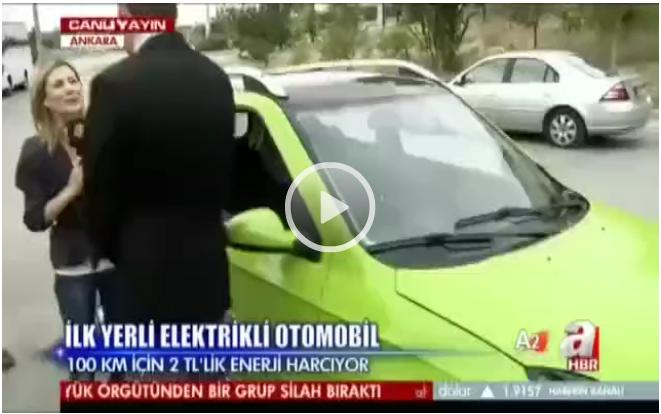 Türkiye'nin ilk yerli elektrikli otomobili test sürüşüne çıktı(video)